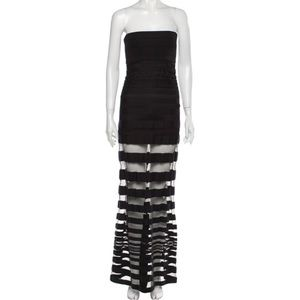 AlEXIS Odessa Strapless Mesh Maxi Dress Black XS